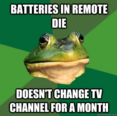 batteries in remote die doesnt change tv channel for a mont - Foul Bachelor Frog