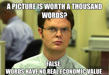 a picture is worth a thousand words false words have no r - Dwight