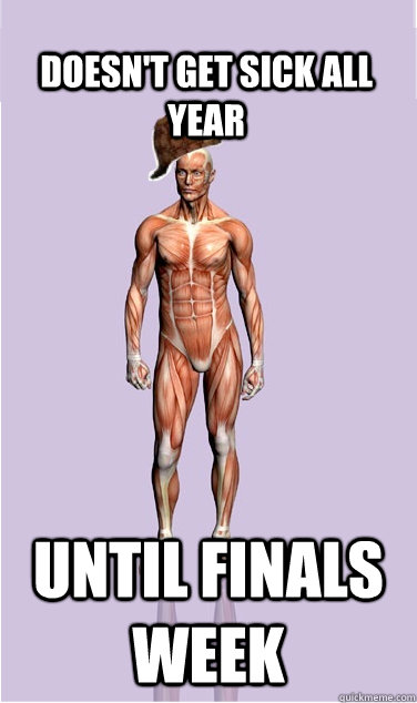 doesnt get sick all year until finals week - Scumbag Body