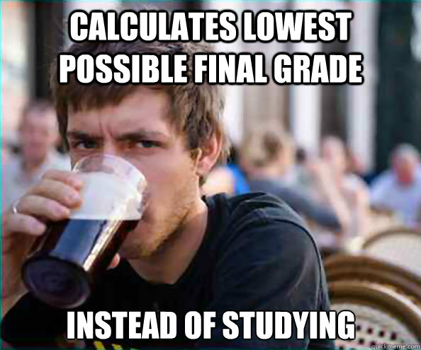 calculates lowest possible final grade instead of studying - Lazy College Senior