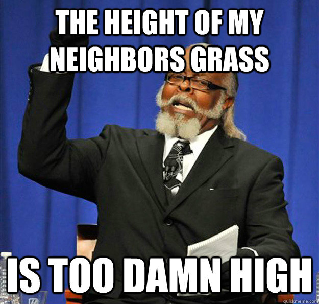 the height of my neighbors grass is too damn high - Jimmy McMillan