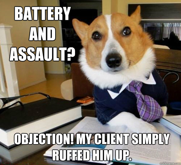 battery and assault objection my client simply ruffed him - Lawyer Dog