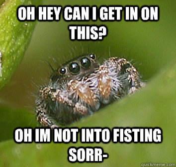 oh hey can i get in on this oh im not into fisting sorr - Misunderstood Spider