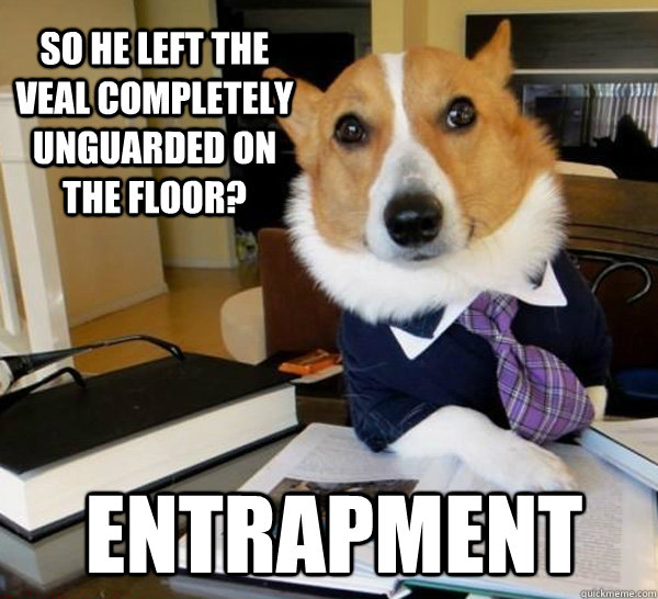 so he left the veal completely unguarded on the floor entra - Lawyer Dog