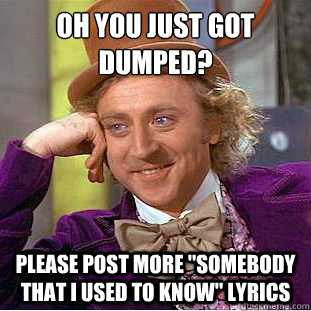 oh you just got dumped please post more somebody that i u - Condescending Wonka