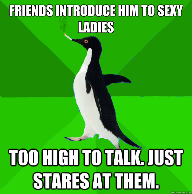 friends introduce him to sexy ladies too high to talk just  - Stoner Penguin