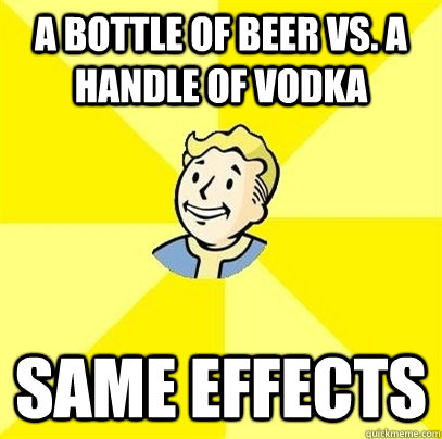 a bottle of beer vs a handle of vodka same effects - Fallout 3