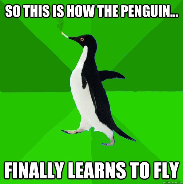 so this is how the penguin finally learns to fly - Stoner Penguin