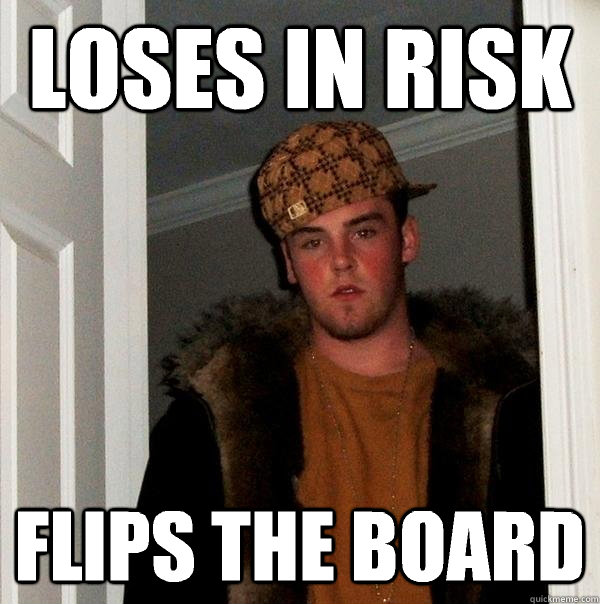 loses in risk flips the board - Scumbag Steve