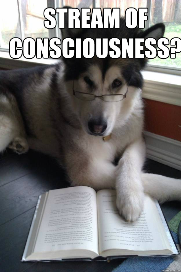stream of consciousness  - Condescending Literary Pun Dog