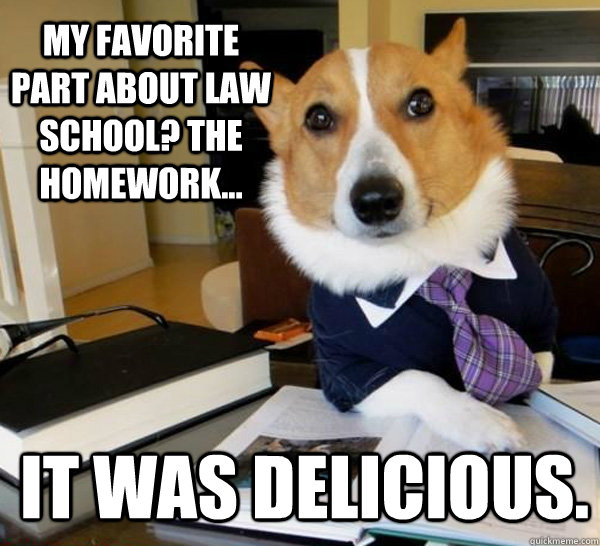 my favorite part about law school the homework it was de - Lawyer Dog