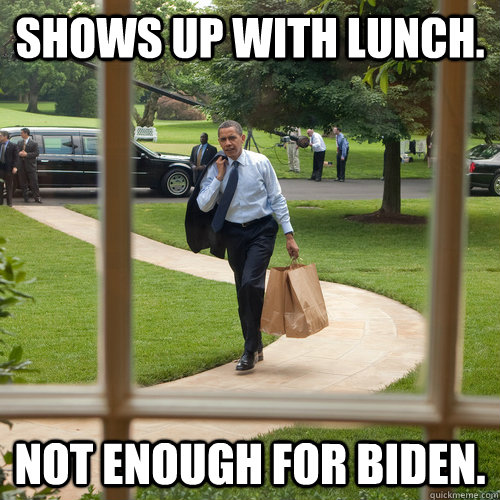 shows up with lunch not enough for biden -