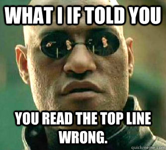 what i if told you you read the top line wrong - Matrix Morpheus