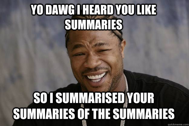 yo dawg i heard you like summaries so i summarised your summ - Xzibit meme