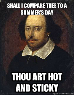 shall i compare thee to a summers day thou art hot and stic - Shakespeare Twin