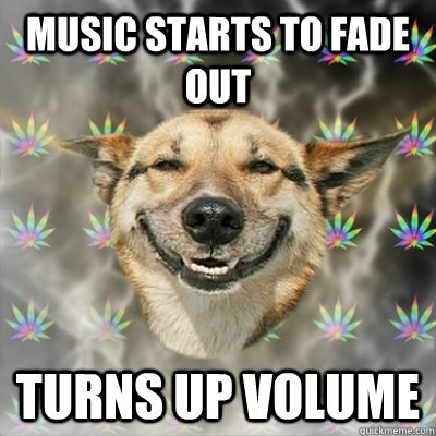 music starts to fade out turns up volume - Stoner Dog