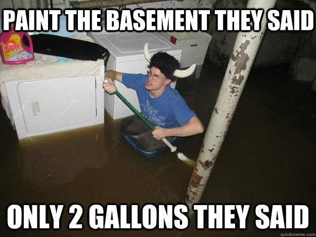 paint the basement they said only 2 gallons they said - Do the laundry they said