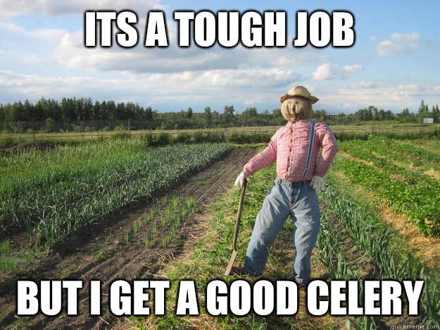 Its a tough job But i get a good celery - Scarecrow