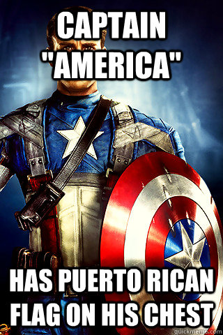 captain america has puerto rican flag on his chest - Capt. America Irony