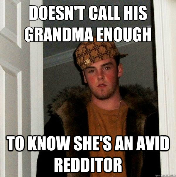 doesnt call his grandma enough to know shes an avid reddit - Scumbag Steve