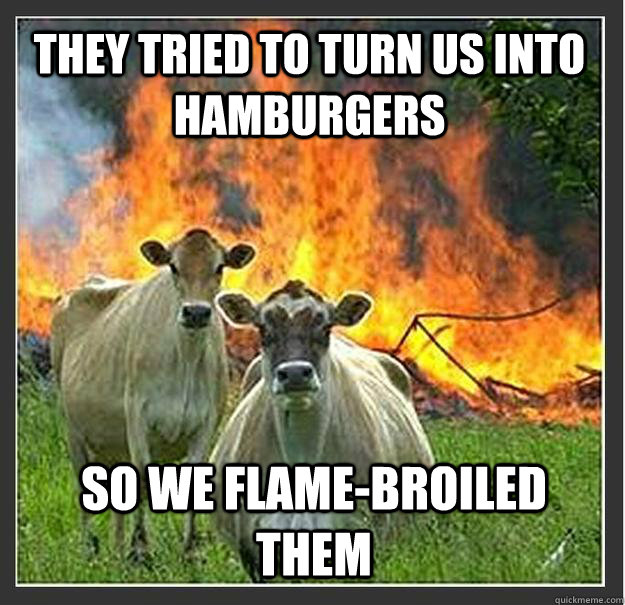 they tried to turn us into hamburgers so we flamebroiled th - Evil cows