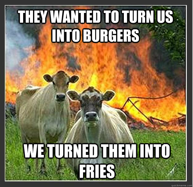 they wanted to turn us into burgers we turned them into frie - Evil cows