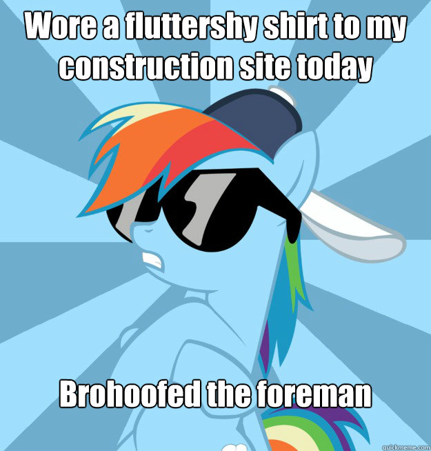 wore a fluttershy shirt to my construction site today brohoo - Socially Awesome Brony