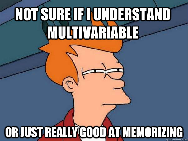 not sure if i understand multivariable or just really good  - Futurama Fry