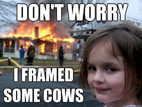 dont worry i framed some cows - Disaster girl