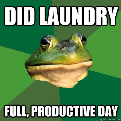 did laundry full productive day - Foul Bachelor Frog
