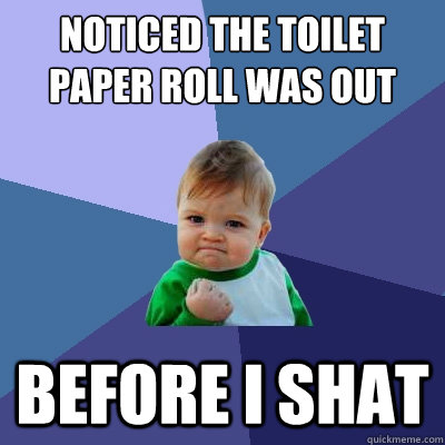 noticed the toilet paper roll was out before i shat - Success Kid