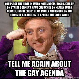 you place the bible in every hotel room hold signs up on st - Condescending Wonka