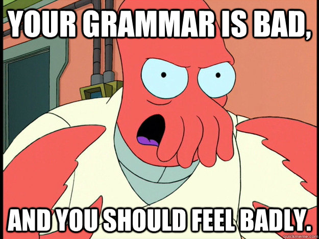 your grammar is bad and you should feel badly - Lunatic Zoidberg