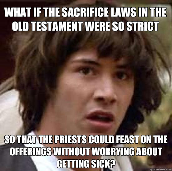 what if the sacrifice laws in the old testament were so stri - conspiracy keanu