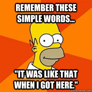 remember these simple words it was like that when i got - Advice Homer