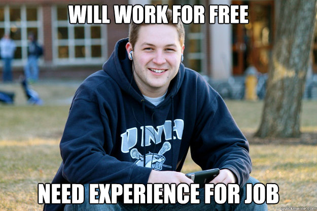 will work for free need experience for job - Mature College Senior