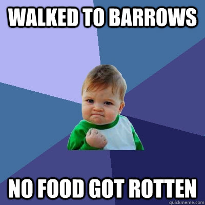 walked to barrows no food got rotten - Success Kid