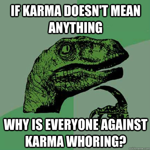 if karma doesnt mean anything why is everyone against karma - Philosoraptor