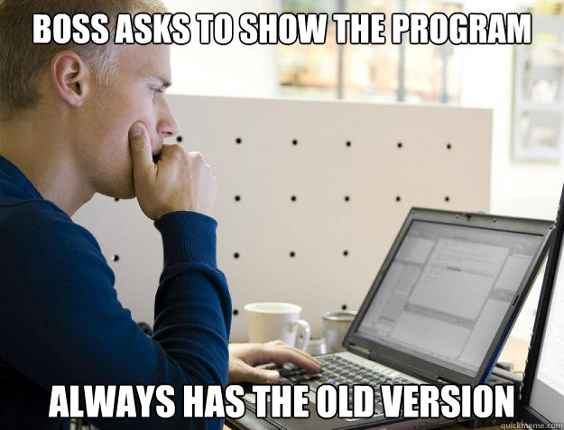 boss asks to show the program always has the old version - Programmer