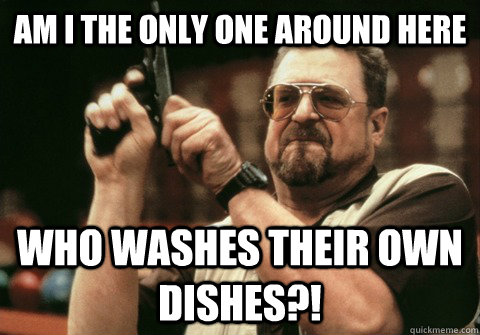 am i the only one around here who washes their own dishes - Am I the only one
