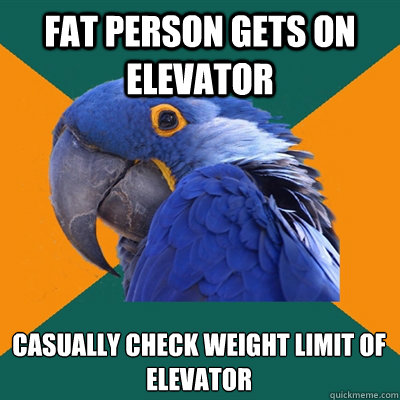 fat person gets on elevator casually check weight limit of e - Paranoid Parrot