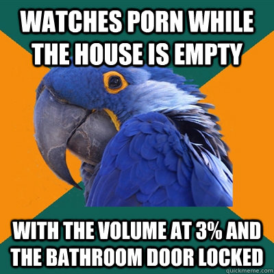 watches porn while the house is empty with the volume at 3  - Paranoid Parrot