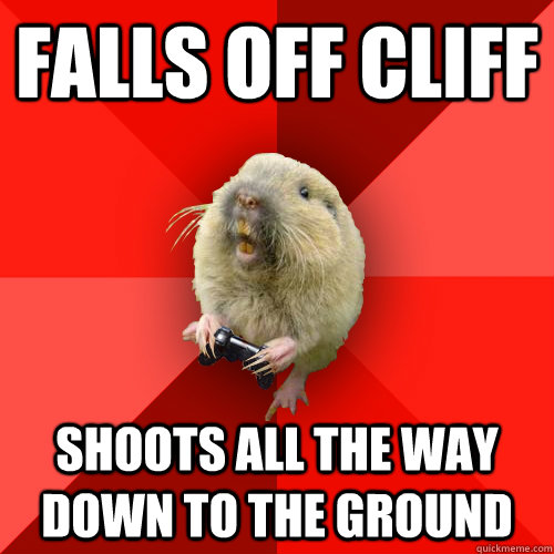 falls off cliff shoots all the way down to the ground - Gaming Gopher