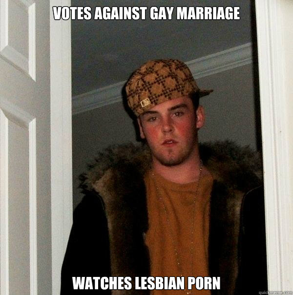 votes against gay marriage watches lesbian porn - Scumbag Steve