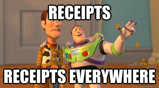 receipts receipts everywhere - Buzz Glitter