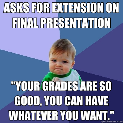 ASKS FOR EXTENSION ON FINAL PRESENTATION