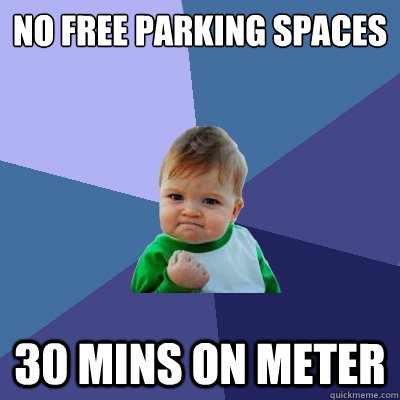 no free parking spaces 30 mins on meter - Success Kid