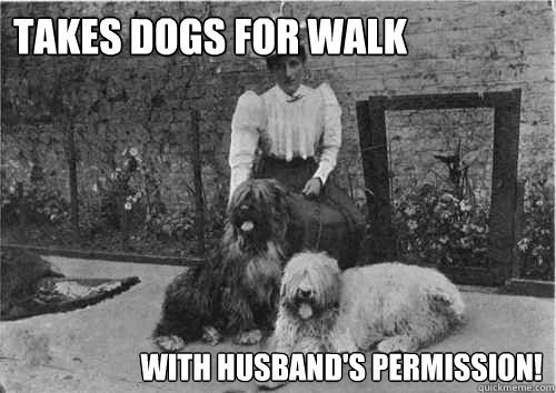 takes dogs for walk with husbands permission - Modern woman