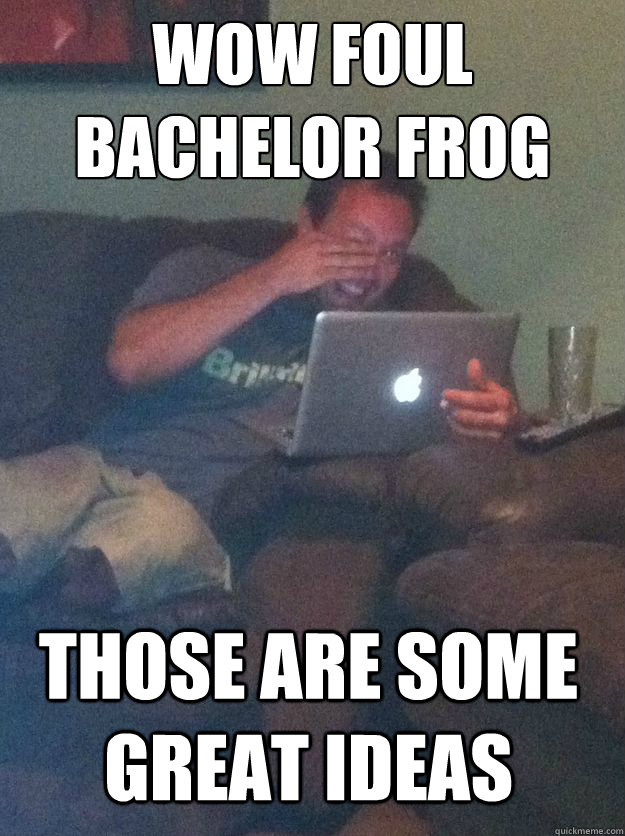wow foul bachelor frog those are some great ideas - Meme Dad