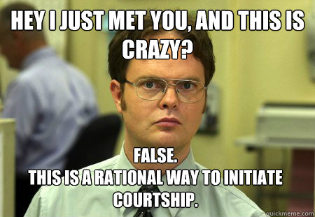 hey i just met you and this is crazy false this is a rat - Dwight